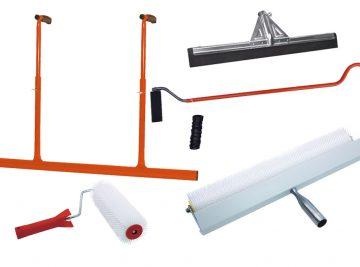 Ferramentas para autonivelantes, Rodo, Betonilhas, Auto-nivelantes, Rodos, ferramentas construção, Rolos, rolo de picos, bicos, Chapa, Argamassas liquidas