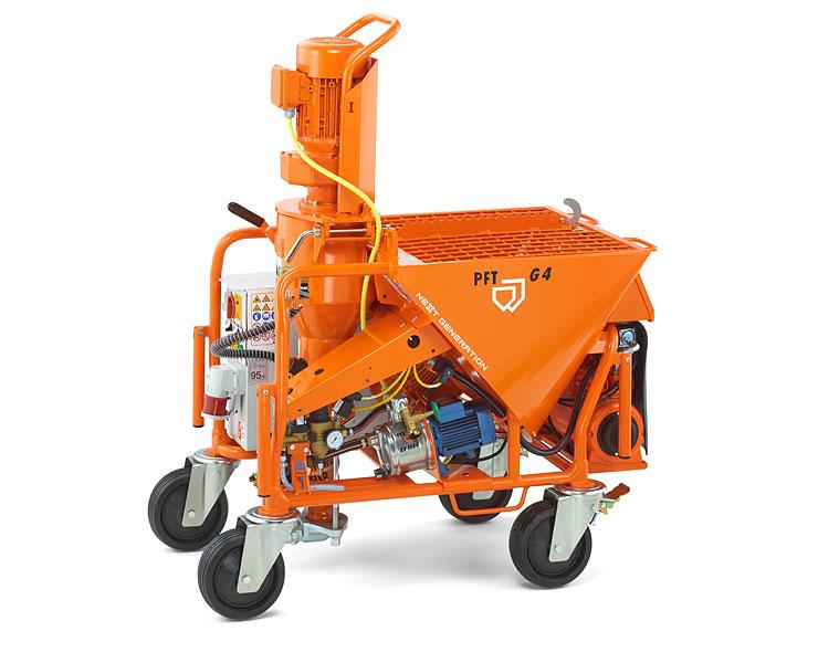 maquinas G4, PFT, reboco projectado, Imagens, 360, Maquina PFT G4, PFT-G4, Maquina de reboco, argamassas, projetadas, projeção, construção, Maltech M5 EVO, Mixer Mustang, Mixer Plus