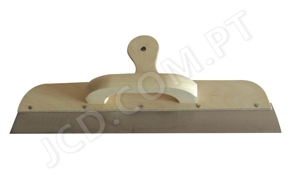 Espátulas Inox, Espátulas cabo de madeira, Pega dupla para um bom suporte, Lâmina de aço temperado. Lâmina Inox. Espessura: 0,6 mm.
