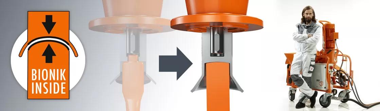 Ferros misturadores Bionik. Sistema PFT, ferros misturadores, maquinas de projetar, peças, acessorios, misturadores de argamassas, mixer, maquina reboco, Portugal, distribuidor, ferro misturador